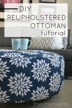 Taking on a reupholstery job isn't easy, but we did it and are showing you how to reupholster an ottoman! Mistakes included!