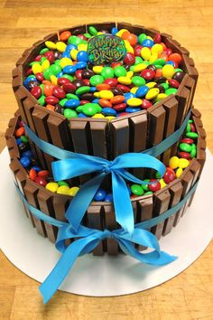 mnm & kitkat cake  I could totally make this!