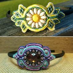 Two more soutache headbands. The top is a custom order, the bottom can be found in my shop.  I've had so much fun making these,  look for more soon!