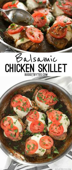 A simple marinade adds big flavor to this fast and easy Balsamic Chicken Skillet…