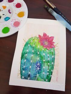 Watercolor cactus Watercolor Cactus, Art, Kunst, Art Education, Artworks