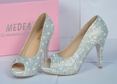 Shinning crystal shoes for Wedding or party Rainbow rhinestone with ivory pearls. $139.00, via Etsy.    OMG OMG OMG.  Want sparkly rhinestone shoes now.  Hahahah