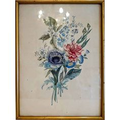 Antique water color painting depicting flowers, century from chateau on Ruby Lane Bunch Of Flowers, 19th Century, Paint Colors, Watercolor Paintings, Ruby Lane, Antiques, Frame, Beautiful, Beauty