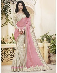 Cream and Light Pink Jute Net Saree with Stone Work