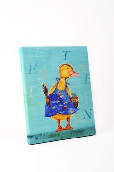 "Leinwanddruck ""Malende Ente"" von Tizia Hula auf DaWanda.com Hula, Tweety, Donald Duck, Disney Characters, Fictional Characters, Etsy, Illustration, Art, Heroes"
