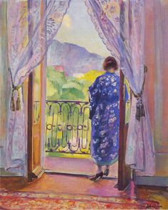 The Blue Robe. Henri Lebasque was a French post-impressionist, Intimist painter known for his joyful color.  Lebasque was a founding member of the Salon d'Automne in 1903 with his friend Henri Matisse. Two years later, a group of artists exhibited there including Georges Rouault, André Derain, Édouard Vuillard, and Matisse. Lebasque also became friends with artists such as Gustave Rouault, Raoul Dufy, Louis Valtat, and Henri Manguin, the last of whom introduced Lebasque to the South of France.