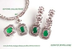 A choice of a girl with the passion of Love & desire,A necklace set in oval emeralds & cubic zarconia tapets.In 925 silver with rhodium plating!                                              https://www.facebook.com/pages/Damiya-Jewellers/289361234463272?ref=hl
