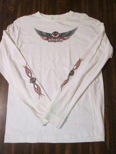 Harley Davidson white T-shirt, woman's MED, glitter logo LONG SLEEVE
