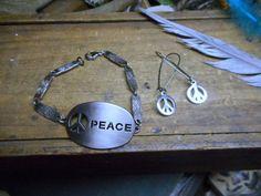 The Peace Metal cutout bracelet & earrings set. Peace sign. Gypsy Hippie Hipster World Peace. Symbol