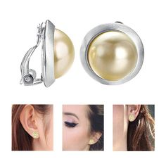 Screw Back Clip on for Non Piercing Blue Big Bowknot Simulated Pearl Long Earring Dangle for Girl