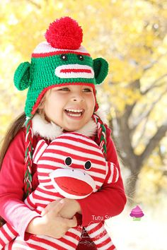 Red and Green Christmas Sock Monkey Crochet Hats For Kids http://www.tutusweetshop.com/item_1055/Red-and-Green-Christmas-Sock-Monkey-Crochet-Hats-For-Kids.htm