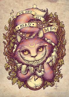 Cheshire Cat Art, Chesire Cat, Cheshire Cat Wallpaper, Cheshire Cat Tattoo, Tattoo Chat, Hippie Kunst, Cat Alice, Alice In Wonderland Drawings, Bild Tattoos