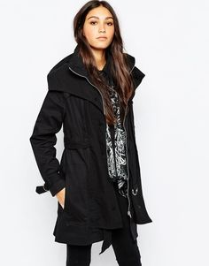 Religion LadiesTrench Coat in Black Size L UK 12/EU 40/US 8 rrp £178