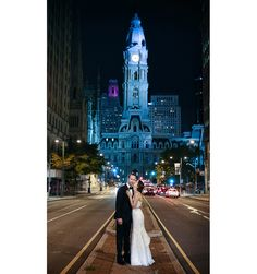 Iconic City Hall Photo in the center of Broad Street in from of the Pennsylvania Academy of the Fine Arts (PAFA) Wedding | Marie Labbancz - Art Of Love Blog