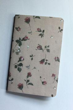Floral Rose Patterned Moleskine Notebook - Travel Notebook - Blank Pages