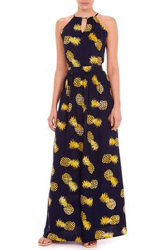 all over pineapple maxi dress Teen Fashion, Fashion Outfits, Womens Fashion, Fashion 101, Pineapple Clothes, Pineapple Outfit, Casual Outfits, Cute Outfits, Casual Dresses