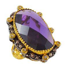 Ασημένιο επίχρυσο δαχτυλίδι με μεγάλη μωβ πέτρα Crown, Antiques, Silver, Vintage, Collection, Jewelry, Fashion, Antiquities, Moda