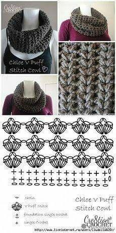 ideas for crochet cowl diagram patrones Crochet Cowl Free Pattern, Gilet Crochet, Crochet Motifs, Crochet Diagram, Crochet Stitches Patterns, Crochet Chart, Crochet Scarves, Crochet Clothes, Crochet Lace