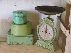 vintage green scale and tins