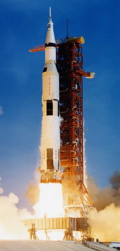 "Lift-off of the Saturn V rocket, carrying astronauts Neil Armstrong, Michael Collins, and Edwin ""Buzz"" Aldrin Jr, along with 6,700,000 pounds (3,039,000 kg) of fuel and equipment into the Florida sky, bound for the Moon, on July 16th, 1969. (NASA)"