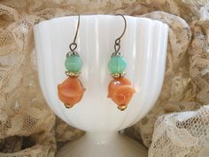 fall vintage assemblage earrings simple cottage by lilyofthevally
