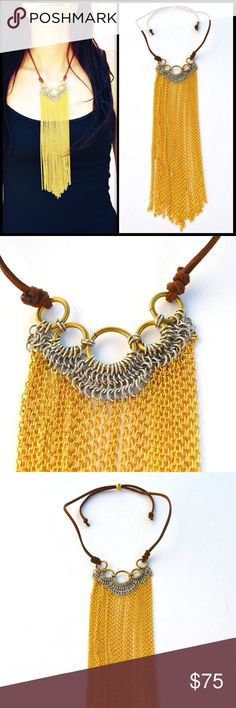 LENA BERNARD 🌙 Rilie Chainmail Necklace NWT LB long chain neck close LB long chain neck Handmade assorted metal necklace that is simply fabulous to wear! The attention to detail is amazing and you will love it with all your fun tops!    Shiny gold brass and silver plated brass on adjustable leather   NWT Lena Bernard Jewelry Necklaces