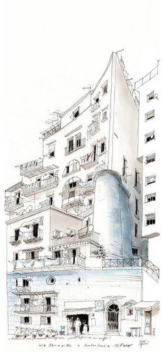 simo capecchi | il faro di Santa Lucia | Napoli. Black ink in Lamy fountain pen and watercolor on Canson paper 50x22 cm.