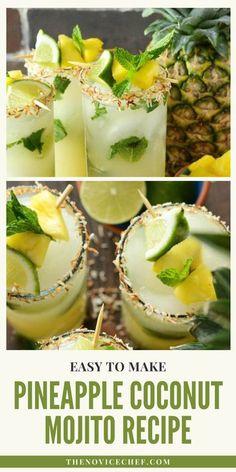 Easy Mojito Recipe, Easy Drink Recipes, Alcohol Drink Recipes, Yummy Drinks, Cocktail Recipes, Fancy Drinks, Oven Recipes, Coconut Mojito, Pineapple Coconut