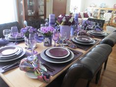 The Welcomed Guest: Royal Albert Brigadoon Purple Table, Royal Albert, Tablescapes, A Table, Home And Family, Sweet Home, Table Settings, Dishes, Table Decorations
