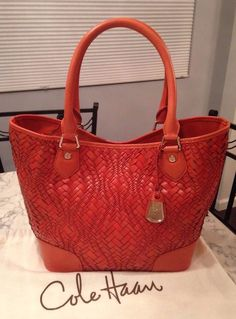 Cole Haan Genevieve MINT! Woven Leather Serena Weave Tote Satchel Hand Bag Purse #ColeHaan #TotesShoppers GORGEOUS!!! MINT CONDITION!!! BEAUTIFUL SPICY ORANGE WOVEN LEATHER BAG!!! SALE!!! WOW!!!