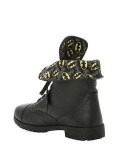 DC Batman Logos Combat Boot | Hot Topic