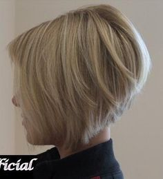 Short angled bob hairstyle. Leave front pieces on either side of face long and that's what I want.