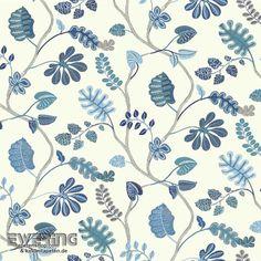 23-326856 Waverly Small Prints Rasch Textil Ranken-Tapete blau