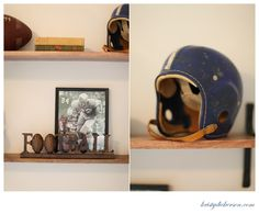 Football helmet and old football pictures