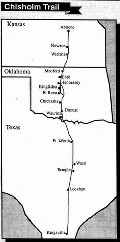The Chisholm Trail was a trail used in the late 19th century to drive cattle overland from ranches in Texas to Kansas railheads. The portion of the trail marked by Jesse Chisholm went from his southern trading post near the Red River, to his northern trading post near Kansas City, Kansas. Texas ranchers using the Chisholm Trail started on that route from either the Rio Grande or San Antonio, Texas, and went to the railhead of the Kansas Pacific Railway in Abilene, Kansas,...