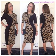 This dress is bold and figure shaping! You can't go wrong looking classy and modern! Www.lamodusa.com