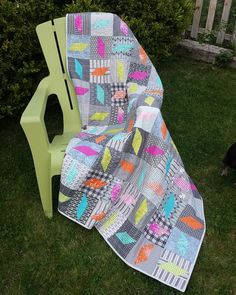 Funfetti quilt by Emily Baily, made with the collection FLOW by Zen Chic for Moda,and a variety of grey background fabrics