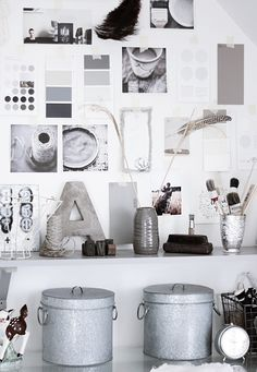 Love the idea of using paint chips from the hardware store as part of a gallery wall! Especially in grayscale!