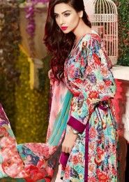 Party Wear Multi Colour Cotton Printed Straight Suit
