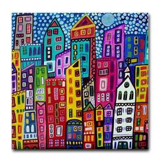 Xmas Delivery Available- New york City art Tile Ceramic Coaster Mexican Folk Art Print of painting by Heather Galler
