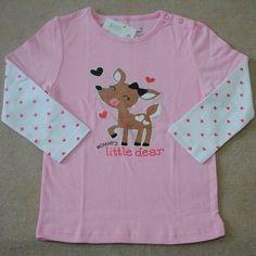 NEW GIRLS Baby Toddler Long Sleeve Cotton T-shirt Little Deer