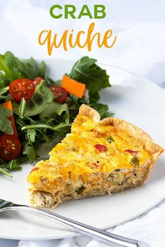 Easy Crab Quiche - A hearty and flavor-packed quiche full of crab meat, cheese, vegetables and seasonings. Easy Crab Quiche - A hearty and flavor-packed quiche full of crab meat, cheese, vegetables and seasonings. Crab Meat Recipes, Best Seafood Recipes, Quiche Recipes, Brunch Recipes, Steak Recipes, Seafood Quiche, Crab Quiche, Seafood Dishes, Crab Meat Appetizers