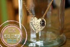 DIY Hammered Metal Stamped Necklace Tutorial from icanmake: Metal Stamped Jewelry Stamped Jewelry, Handcrafted Jewelry, Jewelry Stamping, Metal Clay Jewelry, Wire Jewelry, Diy Jewellery, Diy Jewelry Projects, Jewelry Crafts, Jewelry Ideas