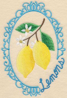 Fruit Cameo Lemons Machine Embroidery Designs at Embroidery Library! -