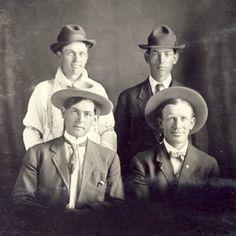 Four HANDSOME Young COWBOY WESTERN Men Photo Postcard Circa 1910