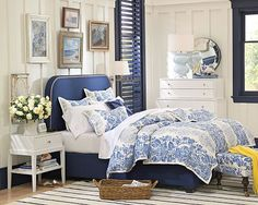 yellow and blue bedroom decor