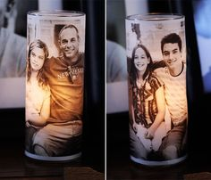 DIY Inexpensive gift!  Vellum photo over glass votive.  Buy candle holder at dollar store. gifts-for-mom-and-grandma-mother-s-day