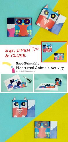 Free Printable Nocturnal Animal Craft for children. Easy to make activity. Animal eyes open and shut as you shift the paper from side to side.