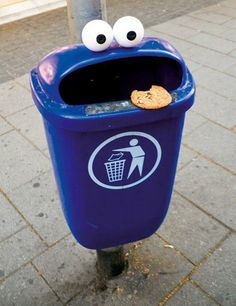A boring old bin turned into a hungry cookie monster thanks to one person's genius additions