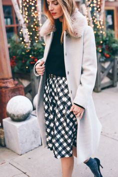 Dressing for the holidays with Talbots wearing a buffalo check midi skirt and wool coat Winter Mode Outfits, Casual Winter Outfits, Winter Fashion Outfits, Holiday Fashion, Holiday Style, Winter Chic, Winter Wear, Autumn Winter Fashion, Winter Style
